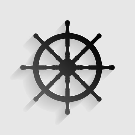 schooner: Ship wheel sign. Black paper with shadow on gray background.