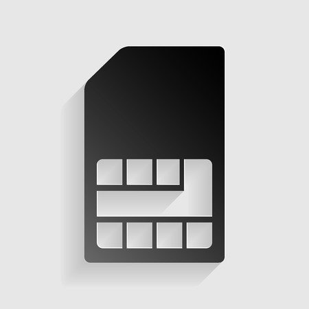 sim card: Sim card sign. Black paper with shadow on gray background.