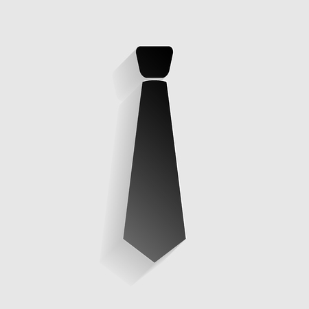 dressmaking: Tie sign illustration. Black paper with shadow on gray background.