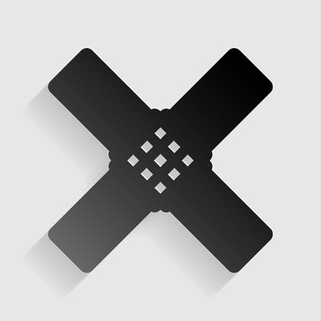 sticker de ayuda. papel negro con sombra sobre fondo gris. Ilustración de vector