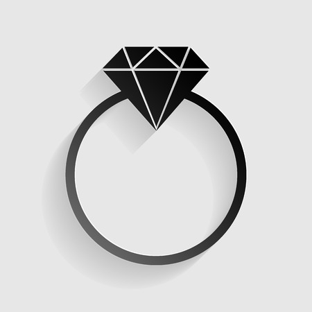 spoil: Diamond sign illustration. Black paper with shadow on gray background.