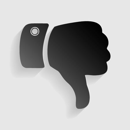 disapprove: Hand sign illustration. Black paper with shadow on gray background.