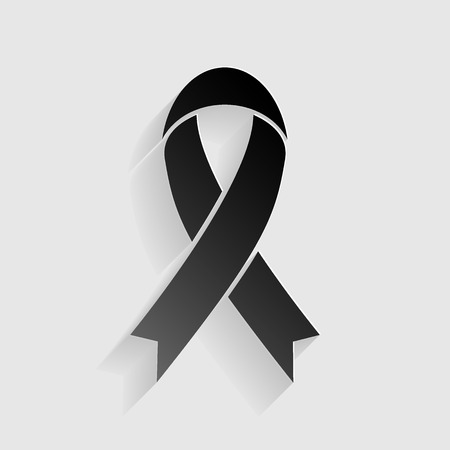substance abuse awareness: Black awareness ribbon sign. Black paper with shadow on gray background.