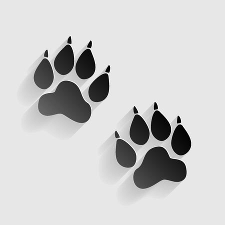 huellas de animales: Pistas animales firman. papel negro con sombra sobre fondo gris.