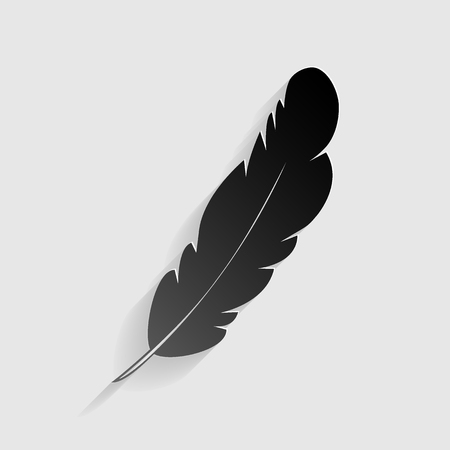 a poet: Feather sign illustration. Black paper with shadow on gray background. Illustration