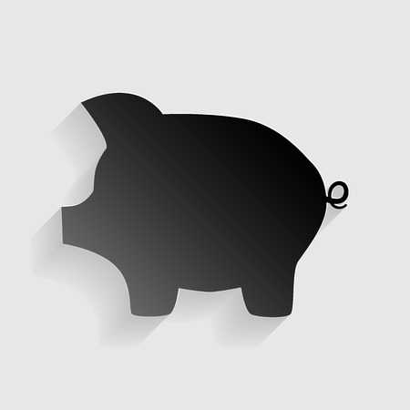 Pig money bank sign. Black paper with shadow on gray background.
