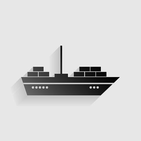 inflate boat: Ship sign illustration. Black paper with shadow on gray background. Illustration