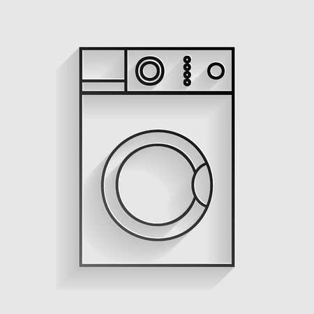 major household appliance: Washing machine sign. Black paper with shadow on gray background.