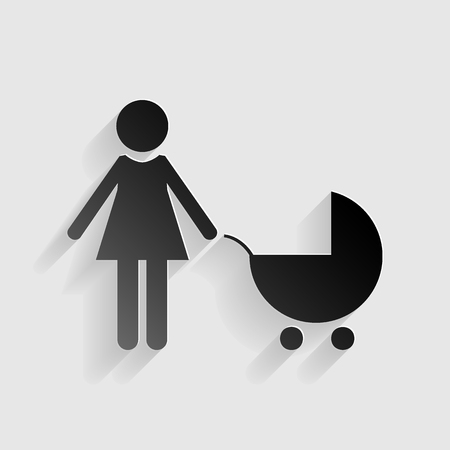 black family: Family sign illustration. Black paper with shadow on gray background.