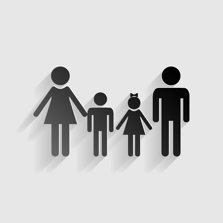 black family: Family sign. Black paper with shadow on gray background. Illustration