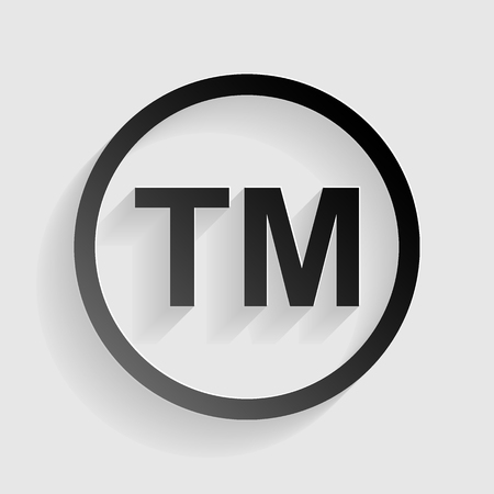 trade mark: Trade mark sign. Black paper with shadow on gray background. Illustration