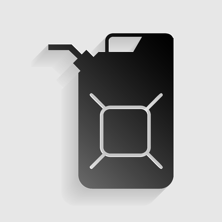 jerry: Jerrycan oil sign. Jerry can oil sign. Black paper with shadow on gray background.
