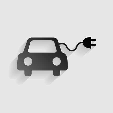 automobile industry: Eco electric car sign. Black paper with shadow on gray background.