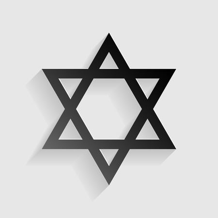 Shield Magen David Star. Symbol of Israel. Black paper with shadow on gray background.