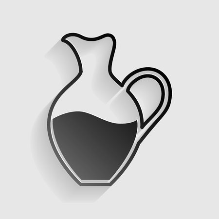 amphora: Amphora sign. Black paper with shadow on gray background.