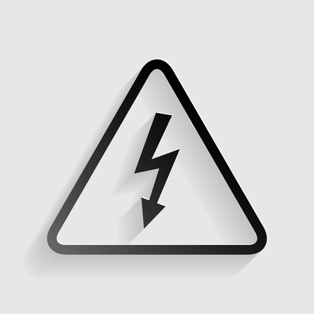 volte: High voltage danger sign. Black paper with shadow on gray background. Illustration