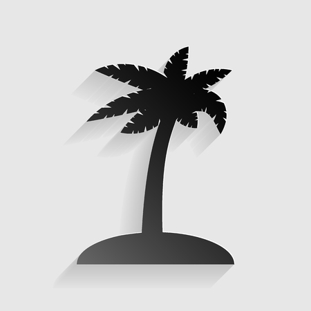 Coconut palm tree sign. Black paper with shadow on gray background.