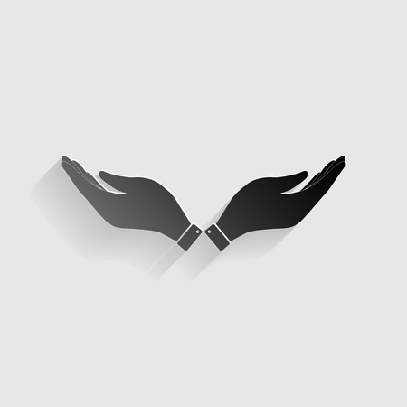 www arm: Hand sign illustration. Black paper with shadow on gray background.