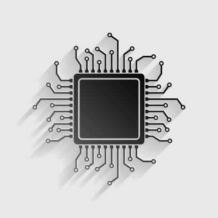 microelectronics: CPU Microprocessor illustration. Black paper with shadow on gray background.