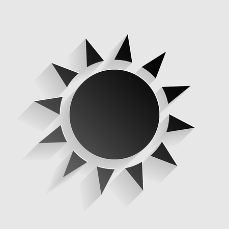 Sun sign illustration. Black paper with shadow on gray background. Illustration