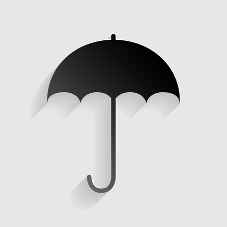 nylon: Umbrella sign icon. Rain protection symbol. Flat design style. Black paper with shadow on gray background.