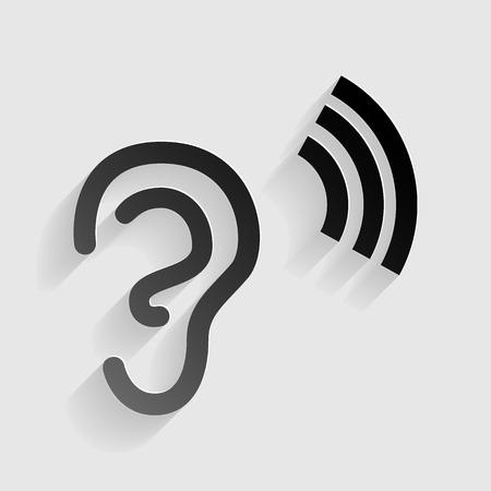 Menselijk oor teken. Zwart document met schaduw op grijze achtergrond.