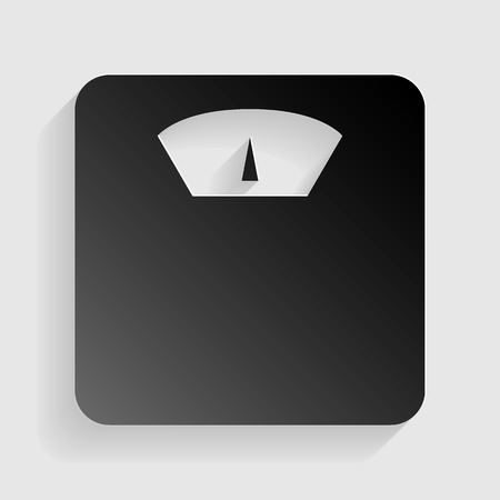 analog weight scale: Bathroom scale sign. Black paper with shadow on gray background.