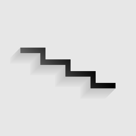 high way: Stair down sign. Black paper with shadow on gray background.