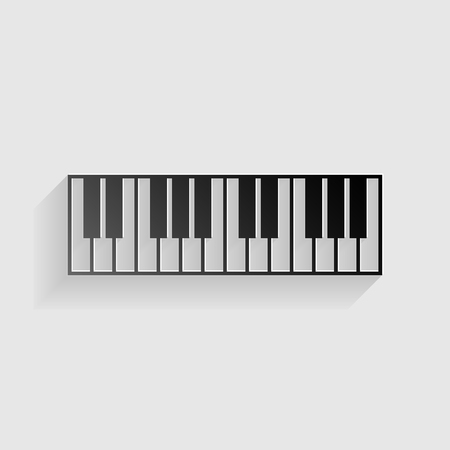 clavier: Piano Keyboard sign. Black paper with shadow on gray background. Illustration