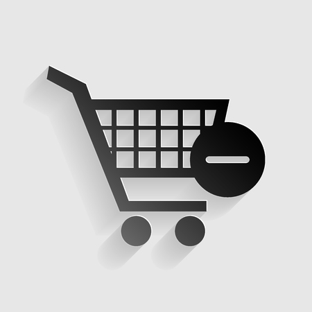 Vector Shopping Cart with Remove sign. Black paper with shadow on gray background.