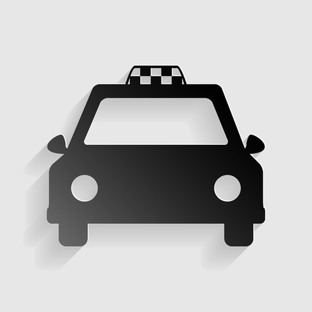 Taxi sign illustration. Black paper with shadow on gray background. Illustration