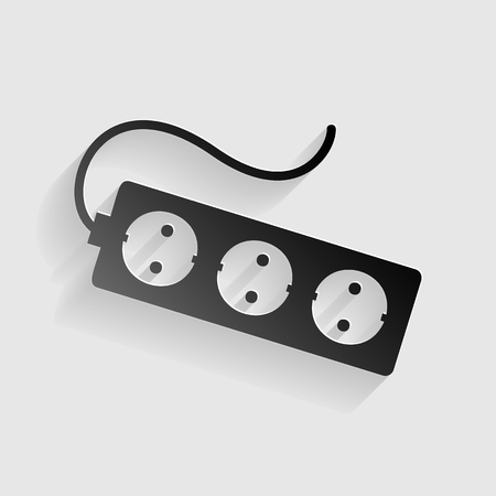 overload: Electric extension plug sign. Black paper with shadow on gray background.