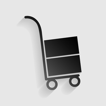 hand truck: Hand truck sign. Black paper with shadow on gray background. Illustration