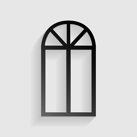 architectural styles: Window simple sign. Black paper with shadow on gray background.