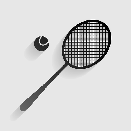 racquet: Tennis racquet sign. Black paper with shadow on gray background.