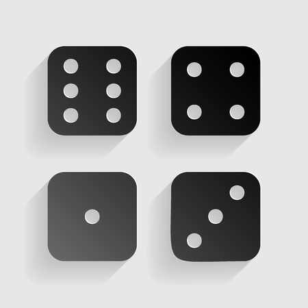 probability: Devils bones, Ivories sign. Black paper with shadow on gray background. Illustration
