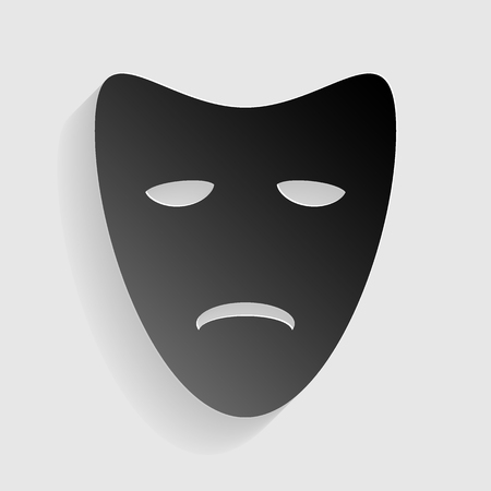 tragedy: Tragedy theatrical masks. Black paper with shadow on gray background. Illustration