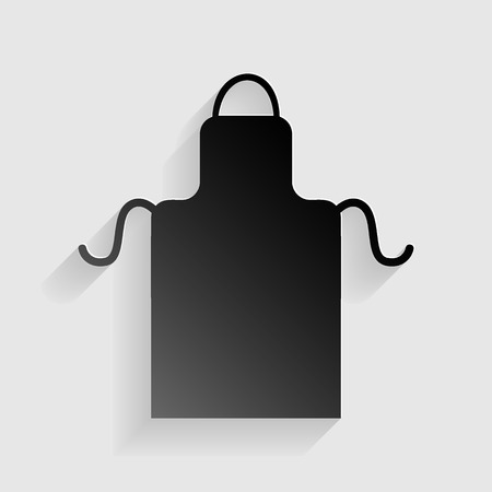 barbecue stove: Apron simple sign. Black paper with shadow on gray background.