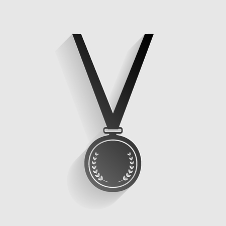 Medal simple sign. Black paper with shadow on gray background. Illustration