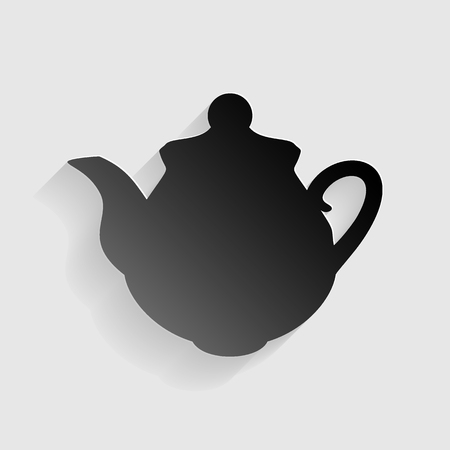 chinese tea pot: Tea maker Kitchen sign. Black paper with shadow on gray background.