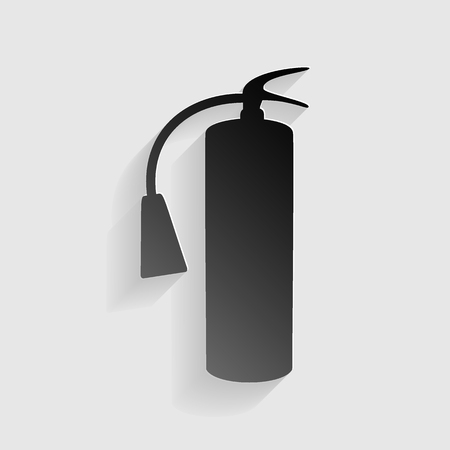 fire extinguisher sign: Fire extinguisher sign. Black paper with shadow on gray background.