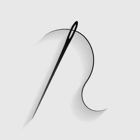 dressmaking: Needle with thread. Sewing needle, needle for sewing. Black paper with shadow on gray background. Illustration