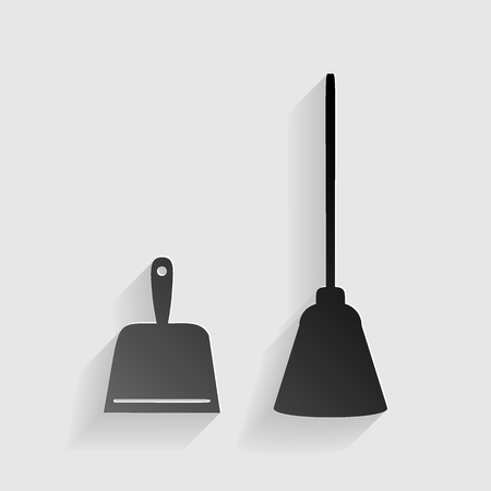whisk broom: Dustpan vector sign. Scoop for cleaning garbage housework dustpan equipment. Black paper with shadow on gray background.