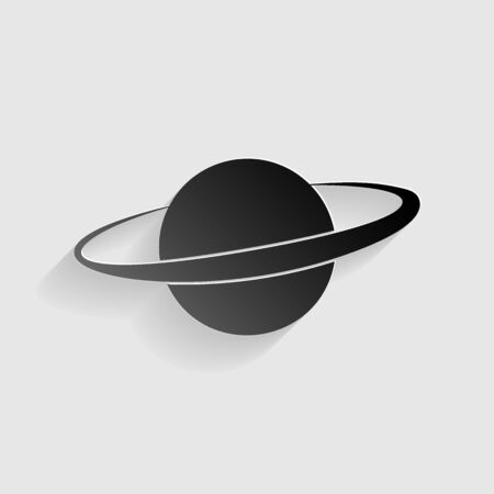 crater: Planet in space sign. Black paper with shadow on gray background. Illustration
