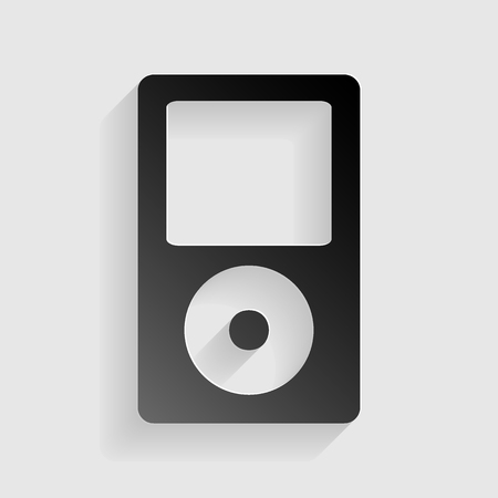 mp: Portable music device. Black paper with shadow on gray background.