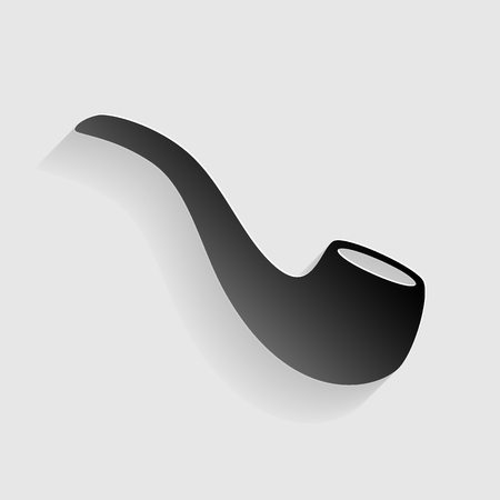 Smoke pipe sign. Black paper with shadow on gray background. Illustration