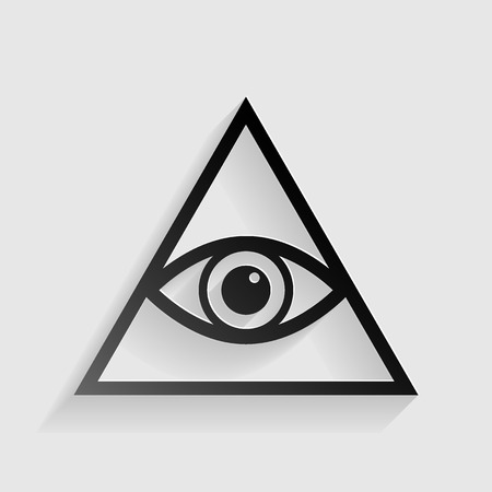 new world order: All seeing eye pyramid symbol. Freemason and spiritual. Black paper with shadow on gray background.