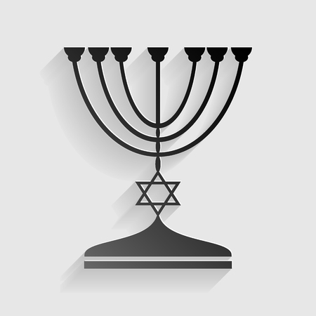 hanuka: Jewish Menorah candlestick in black silhouette. Black paper with shadow on gray background. Illustration