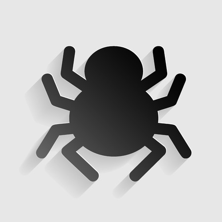 Spider sign illustration. Black paper with shadow on gray background.