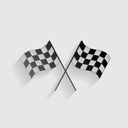 crossed checkered flags: Crossed checkered flags logo waving in the wind conceptual of motor sport. Black paper with shadow on gray background. Illustration